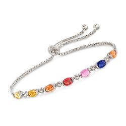 2.80 ct. t.w. Multicolored Sapphire Bolo Bracelet in Sterling Silver, , default
