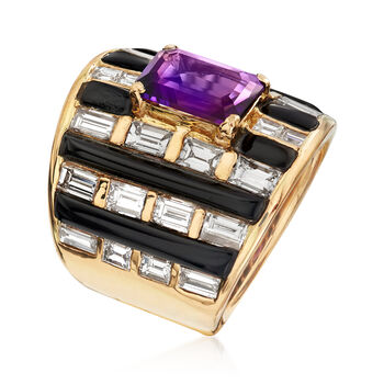 C. 1980 Vintage 4.75 ct. t.w. Diamond and 2.20 Carat Amethyst Ring with Black Onyx in 18kt Yellow Gold. Size 7, , default