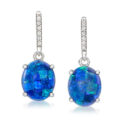 Multi-Gemstone and .50 ct. t.w. White Zircon Triplet Drop Earrings in Sterling Silver