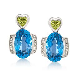 9.00 ct. t.w. London Blue Topaz and .40 ct. t.w. Peridot Heart Drop Earrings With Diamonds in 14kt White Gold, , default