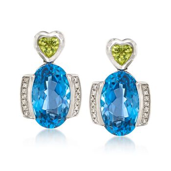 9.00 ct. t.w. London Blue Topaz and .40 ct. t.w. Peridot Heart Drop Earrings With Diamonds in 14kt White Gold , , default