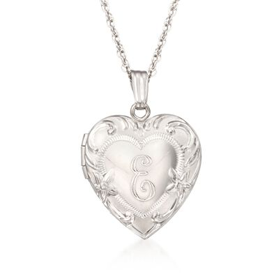 Sterling Silver Engraved Heart Locket Necklace, , default
