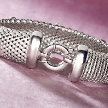 Italian .15 ct. t.w. Diamond Bar Mesh Bracelet in Sterling Silver, , default
