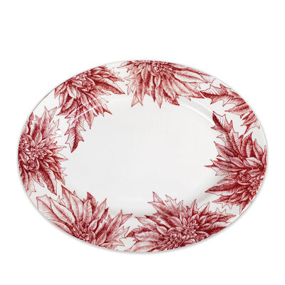 "Caskata ""Poinsettia"" Red and White Porcelain Large Oval Platter, , default"