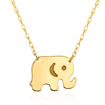14kt Yellow Gold Baby Elephant Necklace, , default