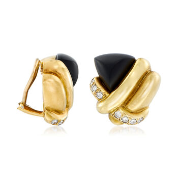 C. 1980 Vintage Black Onyx and .70 ct. t.w. Diamond Knot Earrings in 18kt Yellow Gold , , default