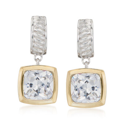 5.00 ct. t.w. Square Cushion-Cut CZ Drop Earrings in Sterling Silver and 14kt Gold