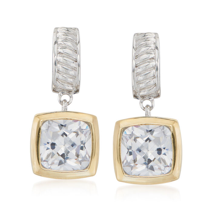 5.00 ct. t.w. Square Cushion-Cut CZ Drop Earrings in Sterling Silver and 14kt Gold , , default
