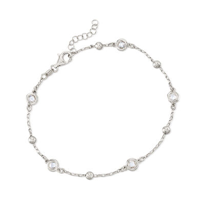 Italian 1.15 ct. t.w. Bezel-Set CZ Station Anklet in Sterling Silver, , default