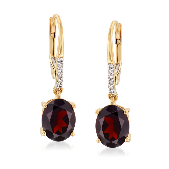3.80 ct. t.w. Garnet Drop Earrings in 18kt Gold Over Sterling with Diamond Accents
