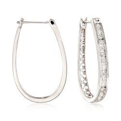 """1.00 ct. t.w. Channel-Set Diamond Oval Hoop Earrings in 14kt White Gold. 1 1/8"""", , default"""