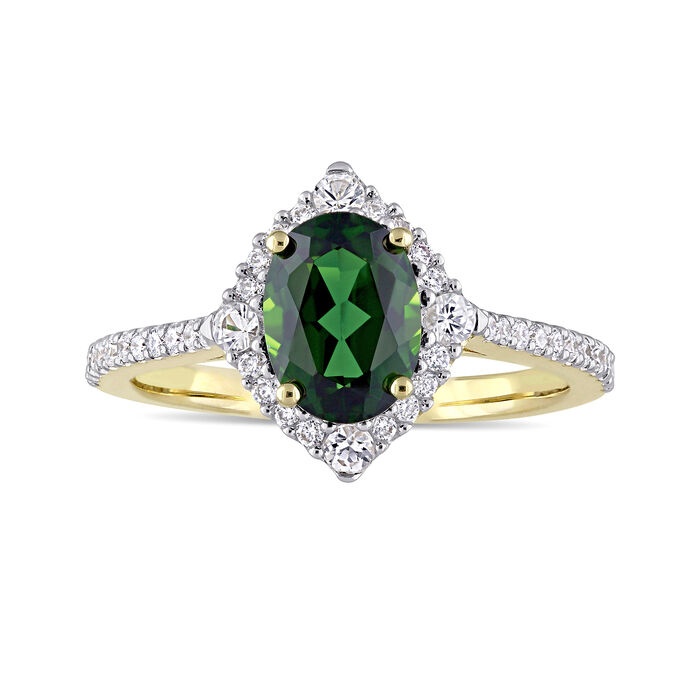 1.50 Carat Chrome Diopside and .23 ct. t.w. Diamond Ring with White Sapphires in 14kt Yellow Gold. Size 5, , default