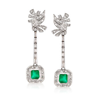 C. 1950 Vintage 1.30 ct. t.w. Emerald and 1.25 ct. t.w. Diamond Earrings in Palladium and Sterling Silver, , default