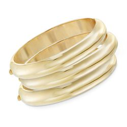 14kt Gold Over Sterling Silver Jewlery Set: Three Bangle Bracelets, , default