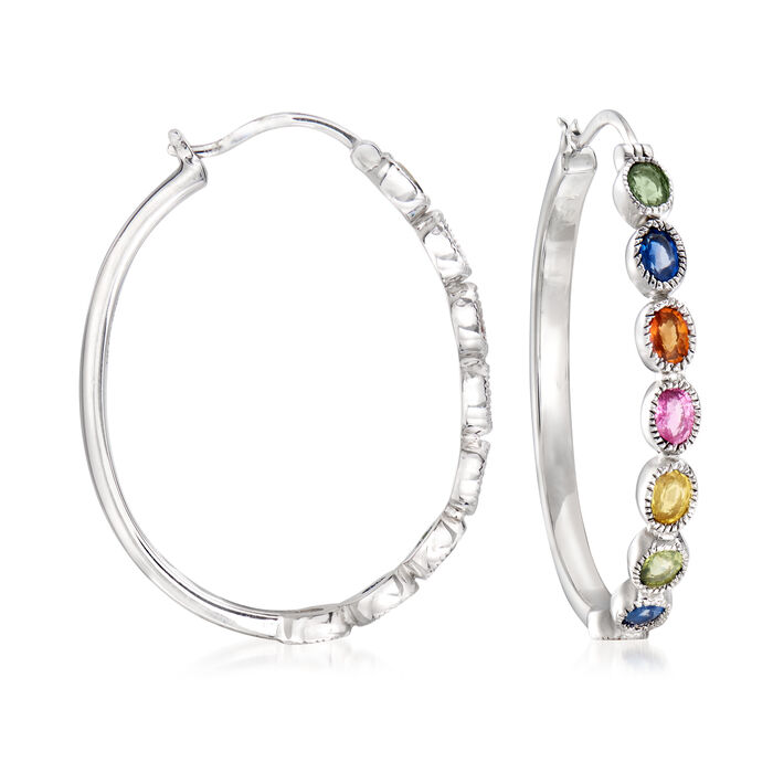 2.70 ct. t.w. Multicolored Sapphire Hoop Earrings in Sterling Silver