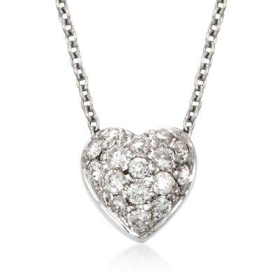 "Roberto Coin ""Tiny Treasures"" .15 ct. t.w. Diamond Puffed Heart Necklace in 18kt White Gold, , default"
