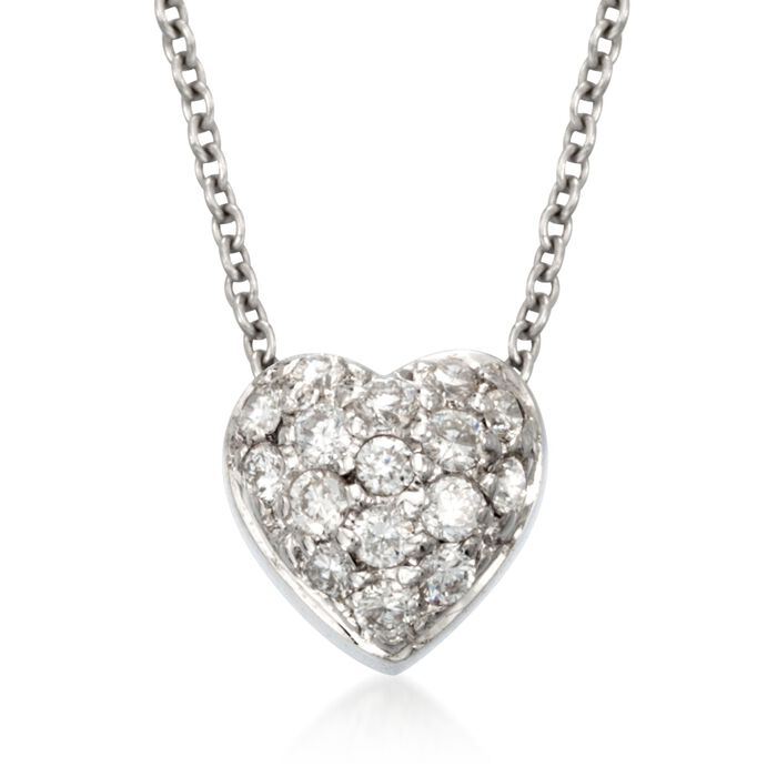 """Roberto Coin """"Tiny Treasures"""" .15 ct. t.w. Diamond Puffed Heart Necklace in 18kt White Gold, , default"""