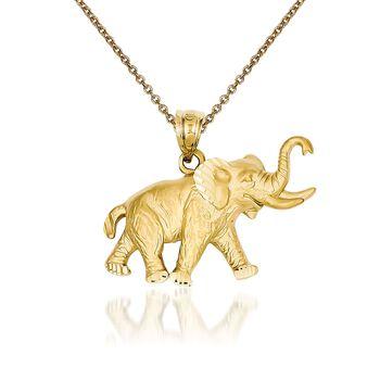 "14kt Yellow Gold Elephant Pendant Necklace. 18"", , default"