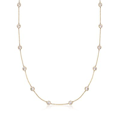 4.50 ct. t.w. CZ Station Necklace in 14kt Yellow Gold, , default