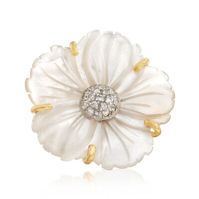 Italian Mother-Of-Pearl and .25 ct. t.w. CZ Floral Ring in 18kt Gold Over Sterling, , default