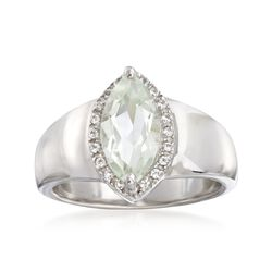 1.60 Carat Marquise-Shaped Green Amethyst Ring With White Topaz Accents in Sterling. Size 7, , default