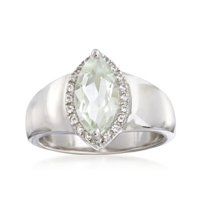 1.60 Carat Marquise-Shaped Green Prasiolite Ring with White Topaz Accents in Sterling, , default