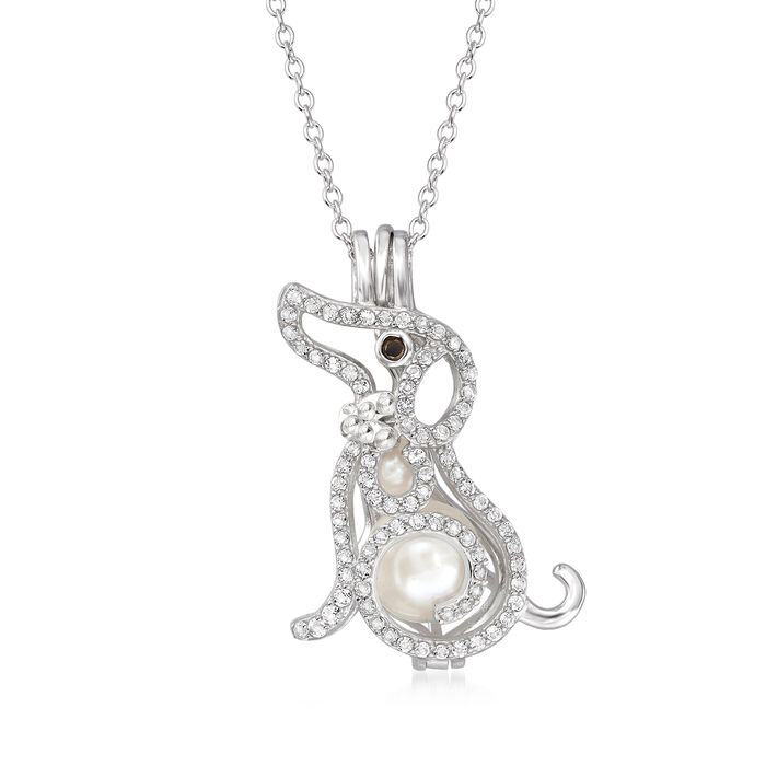 4-7mm Cultured Pearl and .40 ct. t.w. White Topaz Dog Pendant Necklace in Sterling Silver