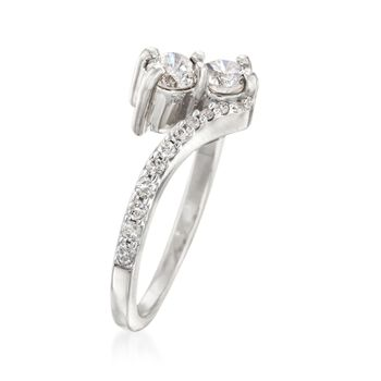 1.00 ct. t.w. Diamond Two-Stone Ring in 14kt White Gold, , default
