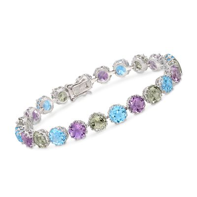 16.00 ct. t.w. Green and Pink Amethyst and 10.00 ct. t.w. Blue Topaz Tennis Bracelet in Sterling Silver, , default