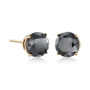 2.00 ct. t.w. Black Diamond Stud Earrings in 14kt Yellow Gold