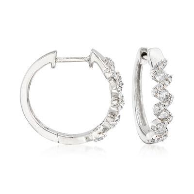 .52 ct. t.w. Diamond Zigzag Hoop Earrings in Sterling Silver, , default