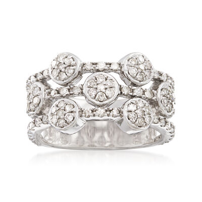 1.00 ct. t.w. Diamond Three-Row Alternating Circle Cluster Ring, , default