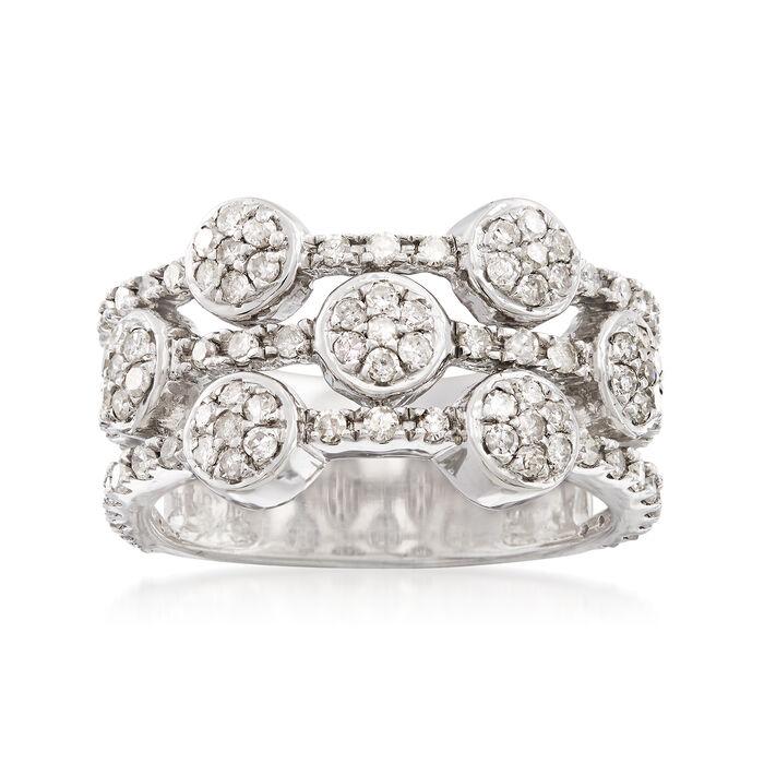 1.00 ct. t.w. Diamond Three-Row Alternating Circle Cluster Ring, , default