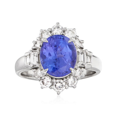 C. 1990 Vintage 3.17 Carat Tanzanite and .88 ct. t.w. Diamond Ring in Platinum