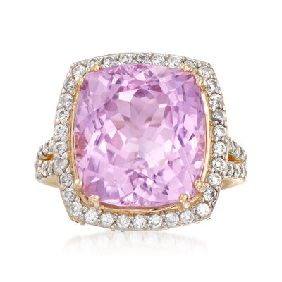 15.00 Carat Kunzite 1.50 ct. t.w. White Zircon Ring in 14kt Yellow Gold, , default