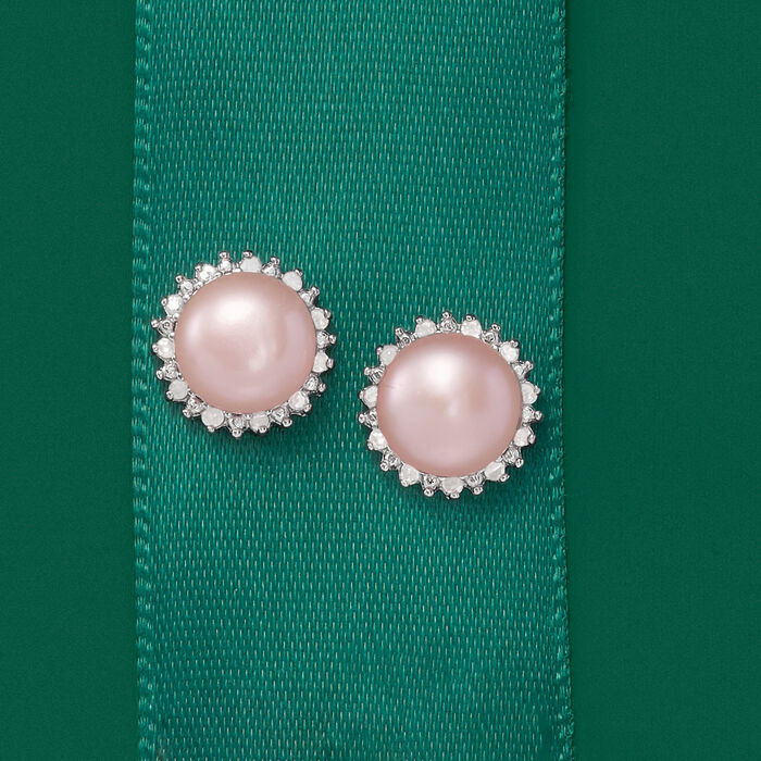 7-7.5mm Pink Cultured Pearl and .13 ct. t.w. Diamond Earrings