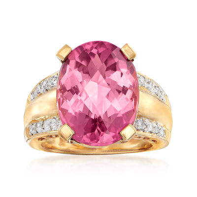 C. 1990 Vintage 11.25 Carat Pink Tourmaline and .25 ct. t.w. Diamond Ring in 18kt Yellow Gold