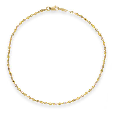 2.1mm 14kt Two-Tone Gold Dorica Chain Anklet, , default