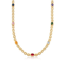 "C. 1990 Vintage 10.40 ct. t.w. Multi-Stone Station Necklace in 14kt Yellow Gold. 18"", , default"
