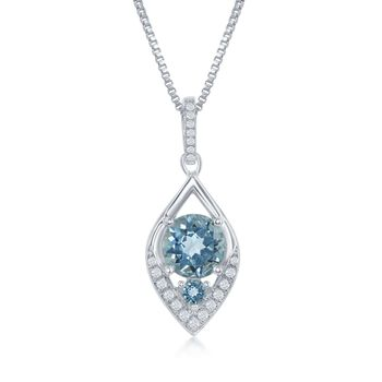 """2.47 ct. t.w. Blue and White Topaz Marquise Pendant Necklace in Sterling Silver. 17.25"""", , default"""