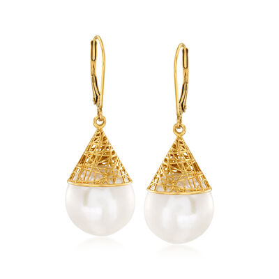 13-13.5mm Cultured Pearl Drop Earrings in 14kt Yellow Gold