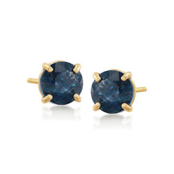 .60 ct. t.w. Round Sapphire Stud Earrings in 14kt Yellow Gold, , default