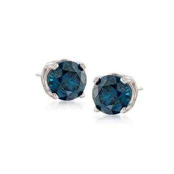 .50 ct. t.w. Blue Diamond Stud Earrings in 14kt White Gold, , default