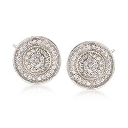 .50 ct. t.w. Pave CZ Circle Earrings in Sterling Silver, , default