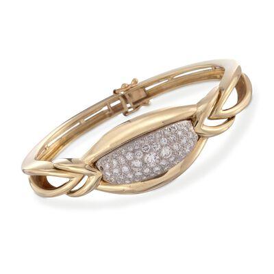 C. 1980 Vintage 2.00 ct. t.w. Pave Diamond Bangle Bracelet in 18kt Yellow Gold, , default