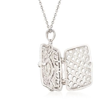 ".30 ct. t.w. CZ Filigree Locket Necklace in Sterling Silver. 18"""