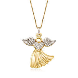 .25 ct. t.w. Diamond Angel Pendant Necklace in 18kt Yellow Gold Over Sterling Silver, , default
