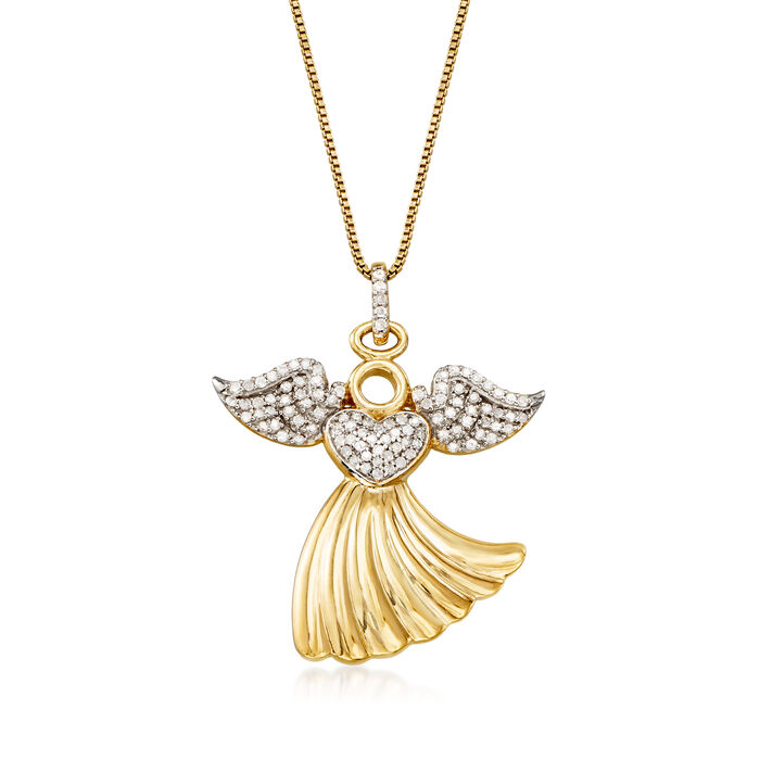 """.25 ct. t.w. Diamond Angel Pendant Necklace in 18kt Gold Over Sterling. 18"""", , default"""