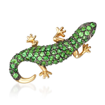 1.13 ct. t.w. Tsavorite Lizard Pin/Pendant in 14kt Yellow Gold, , default