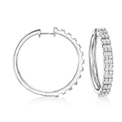 2.00 ct. t.w. Round and Baguette Diamond Hoop Earrings in Sterling Silver